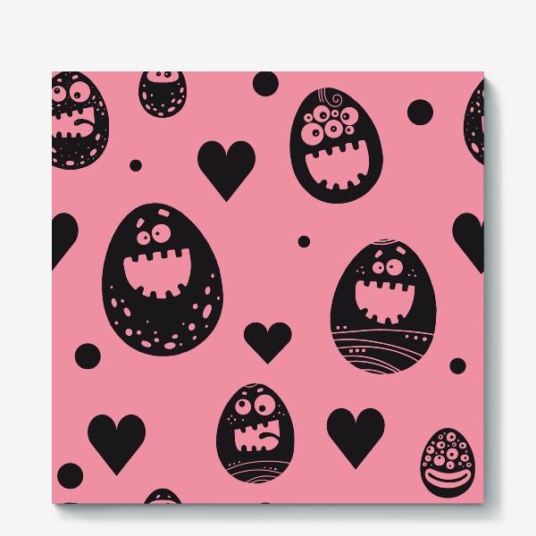 Холст «Веселый пасхальный паттерн на розовом»
