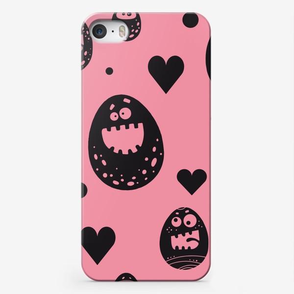 Чехол iPhone «Веселый пасхальный паттерн на розовом»