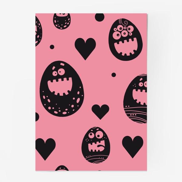 Постер «Веселый пасхальный паттерн на розовом»