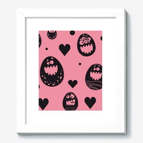 Картина «Веселый пасхальный паттерн на розовом»
