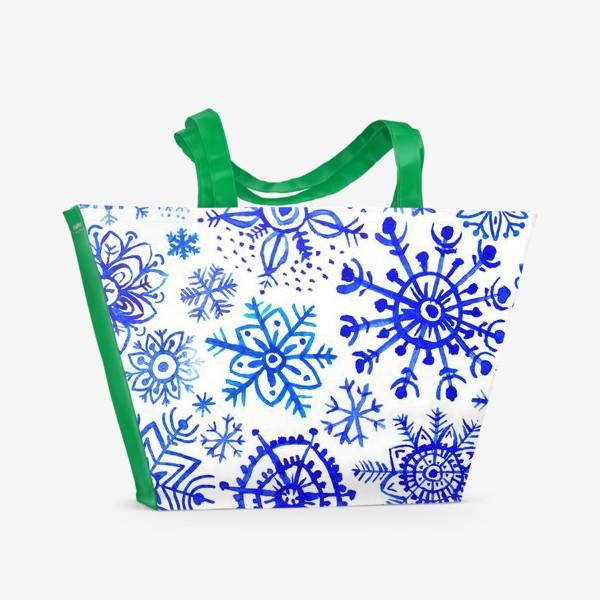 Пляжная сумка «Снежинки гжель»
