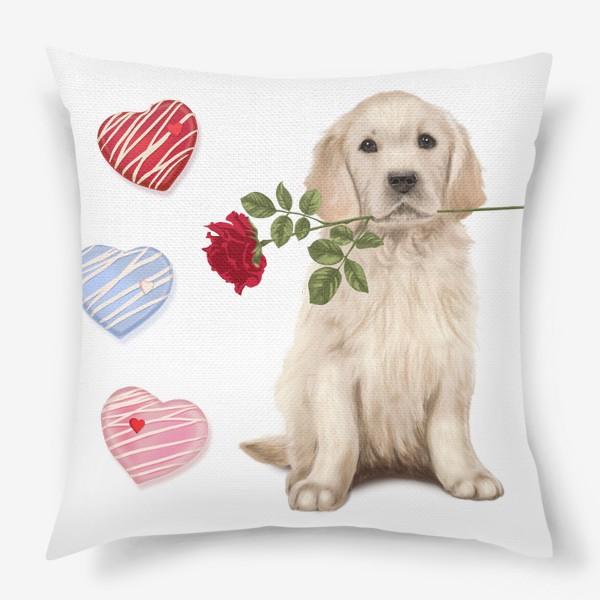 Подушка «Golden Retriever with Rose and Love»