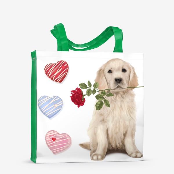 Сумка-шоппер «Golden Retriever with Rose and Love»
