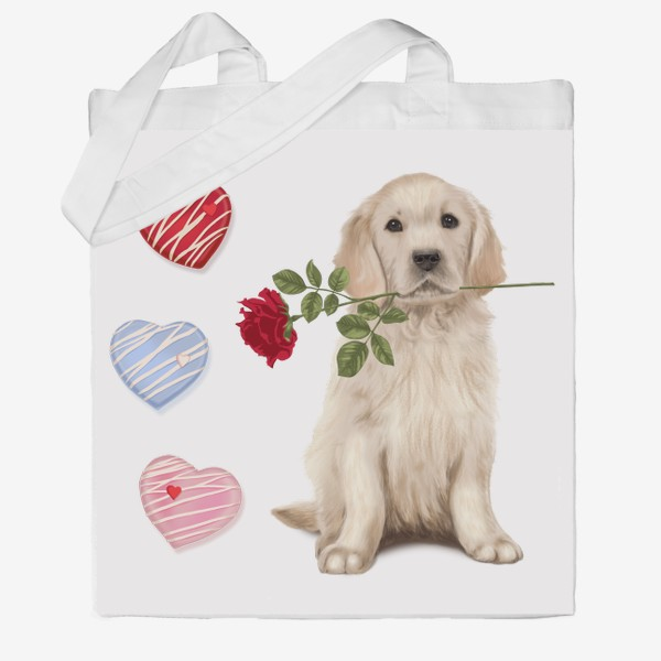 Сумка хб «Golden Retriever with Rose and Love»