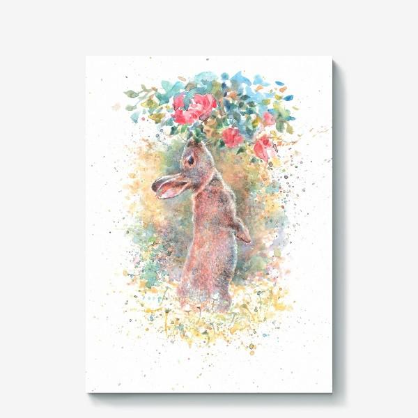 Холст «Зайчик цветы»