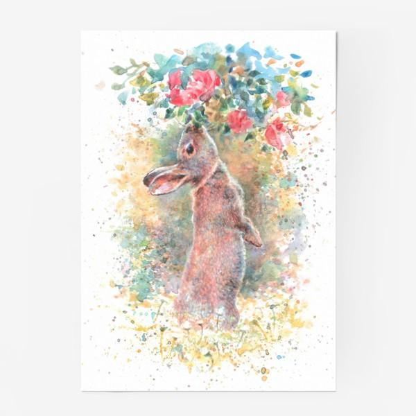 Постер «Зайчик цветы»