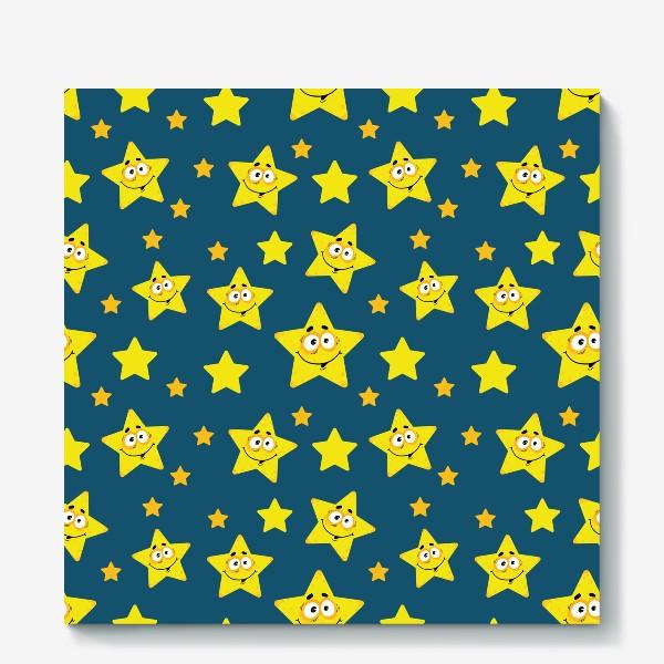Холст «Небесный звездопад! Паттерн со звездами на синем фоне.. »