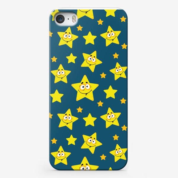 Чехол iPhone «Небесный звездопад! Паттерн со звездами на синем фоне.. »