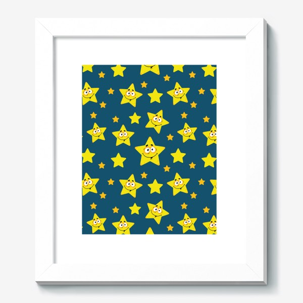 Картина «Небесный звездопад! Паттерн со звездами на синем фоне.. »