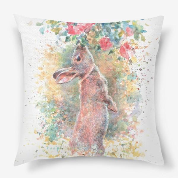 Подушка «Зайчик цветы»