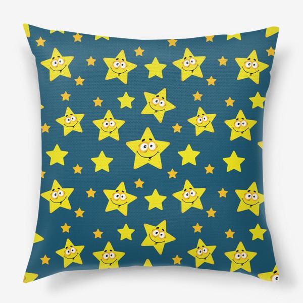 Подушка «Небесный звездопад! Паттерн со звездами на синем фоне.. »
