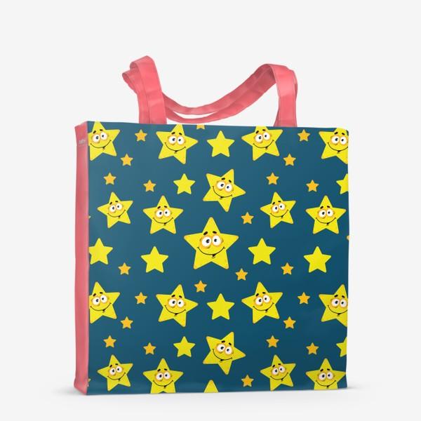 Сумка-шоппер «Небесный звездопад! Паттерн со звездами на синем фоне.. »