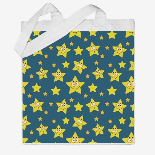 Сумка хб «Небесный звездопад! Паттерн со звездами на синем фоне.. »