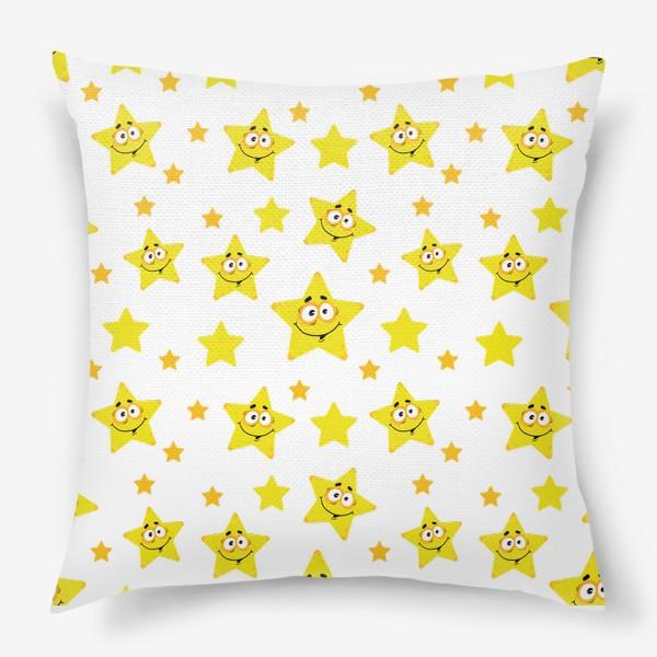 Подушка «Небесный звездопад! Паттерн со звездами. »