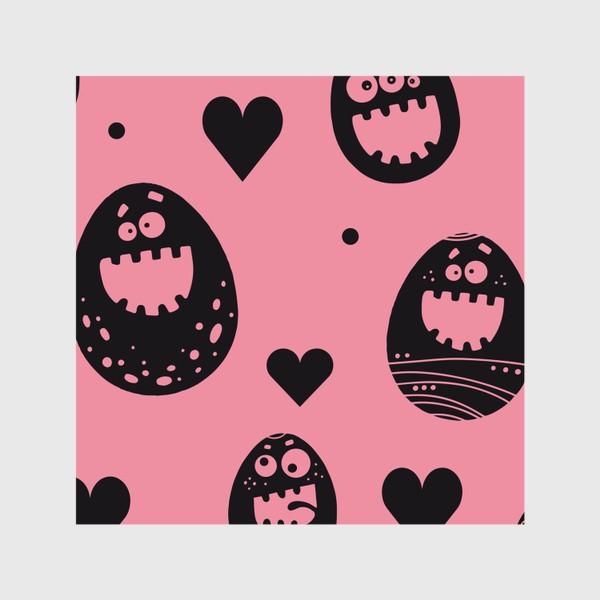 Шторы «Веселый пасхальный паттерн на розовом»