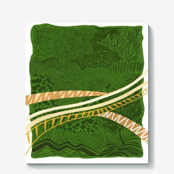 Холст «Зеленый лес стилизация»