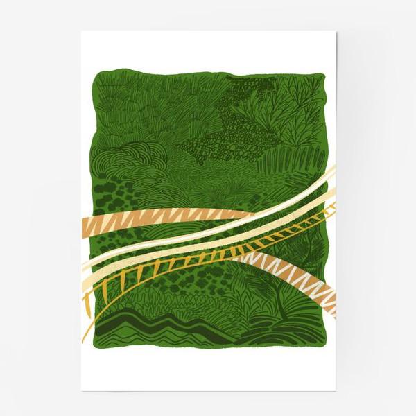 Постер «Зеленый лес стилизация»