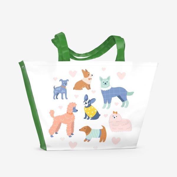 Пляжная сумка «Собаки на прогулке»