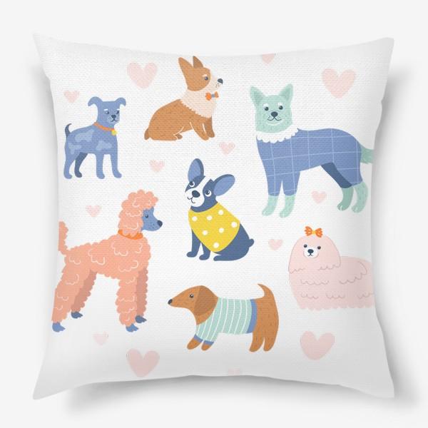 Подушка «Собаки на прогулке»