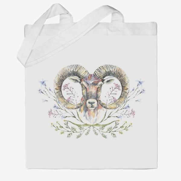 Сумка хб «Акварельный портрет барана с букетом из полевых цветов»