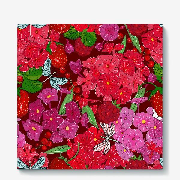 Холст «красные цветы, ягоды и стрекоза»