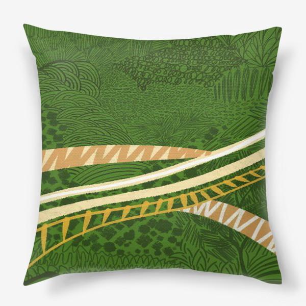 Подушка «Зеленый лес стилизация»