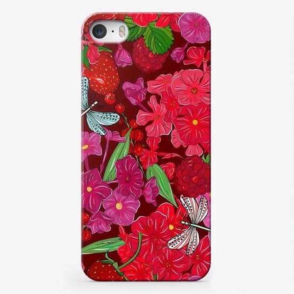 Чехол iPhone «красные цветы, ягоды и стрекоза»