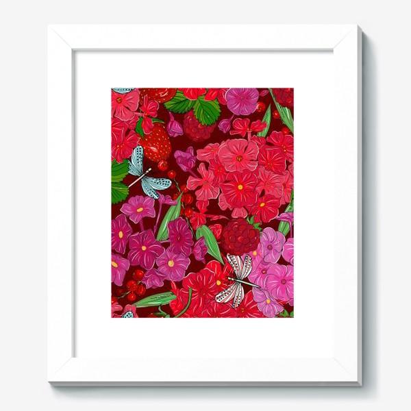 Картина «красные цветы, ягоды и стрекоза»