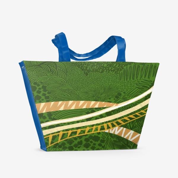 Пляжная сумка «Зеленый лес стилизация»