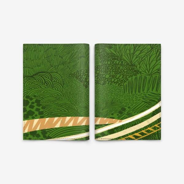 Обложка для паспорта «Зеленый лес стилизация»