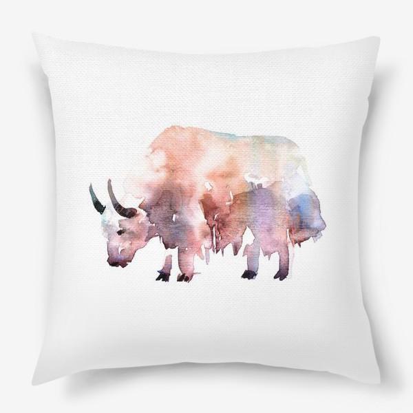 Подушка «Тибетский бык. Акварельная серия животных»