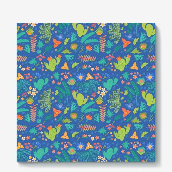 Холст «Ботанический принт на синем»