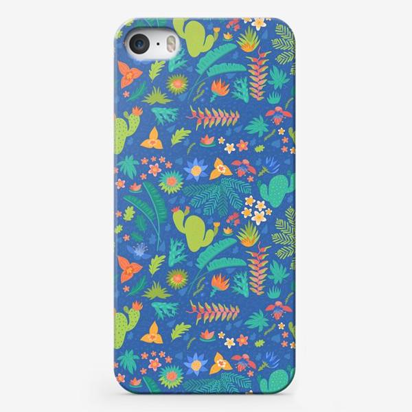 Чехол iPhone «Ботанический принт на синем»