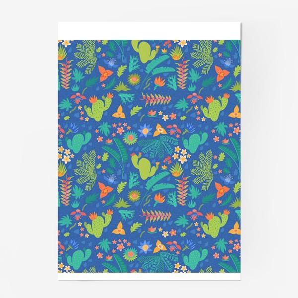 Постер «Ботанический принт на синем»