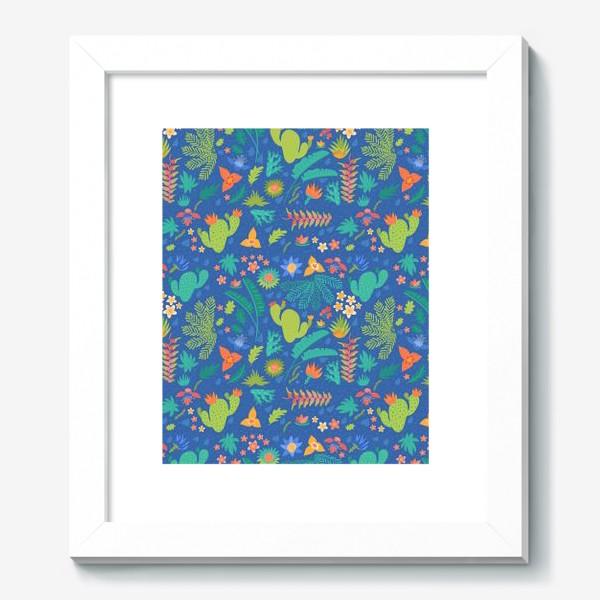 Картина «Ботанический принт на синем»