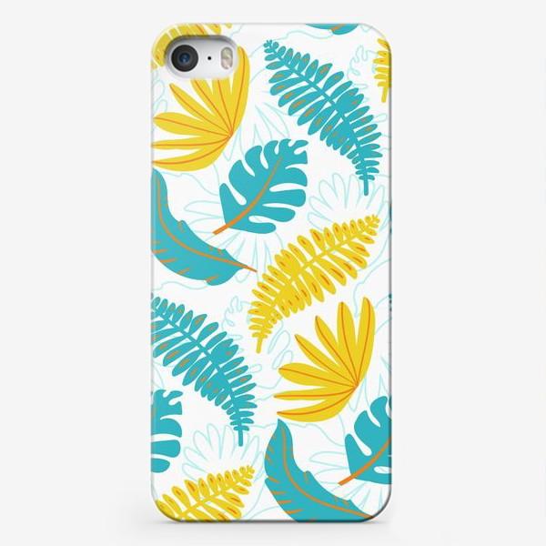 Чехол iPhone «Тропические листья на белом»