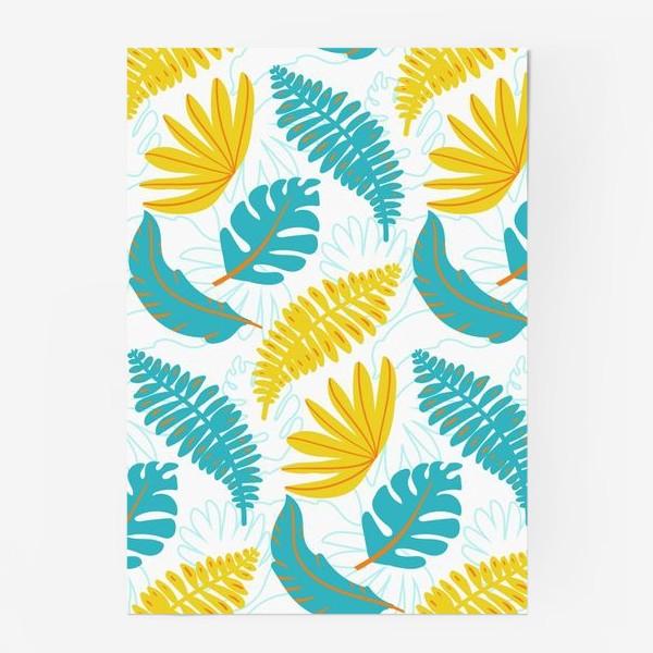 Постер «Тропические листья на белом»