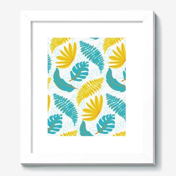 Картина «Тропические листья на белом»