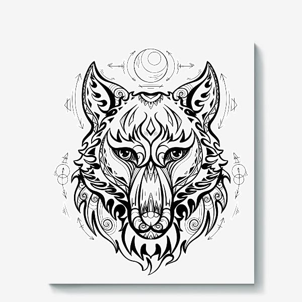 Холст «Волк с символами »