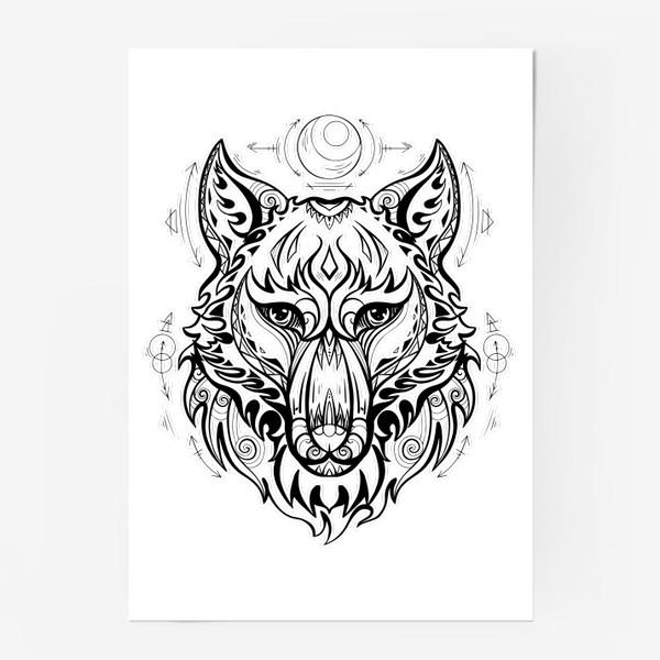 Постер «Волк с символами »