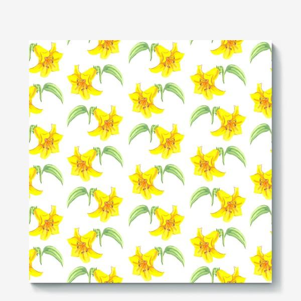 Холст «паттерн желтые лилии акварель цветы»