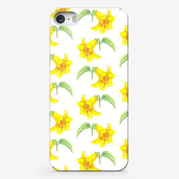 Чехол iPhone «паттерн желтые лилии акварель цветы»