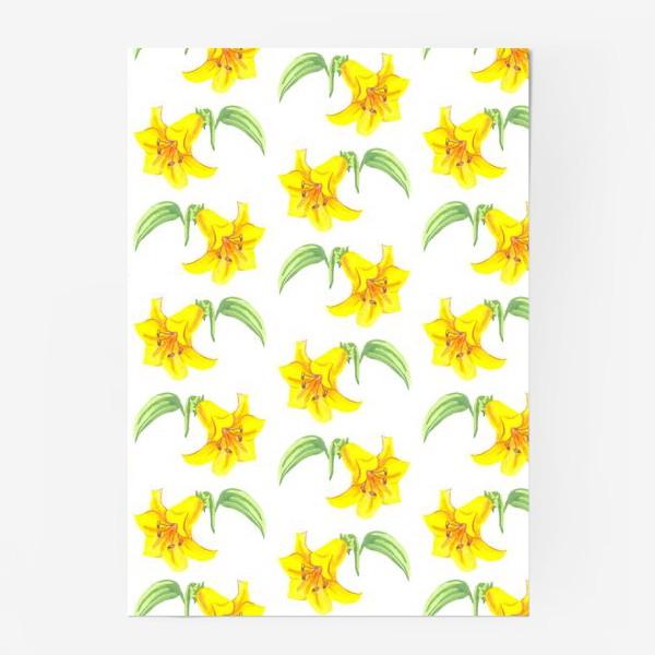 Постер «паттерн желтые лилии акварель цветы»
