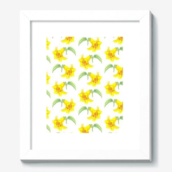 Картина «паттерн желтые лилии акварель цветы»