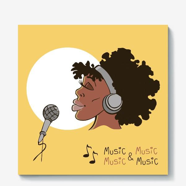Холст «афроамериканка девушка микрофон и наушники на фоне солнца: музыка»