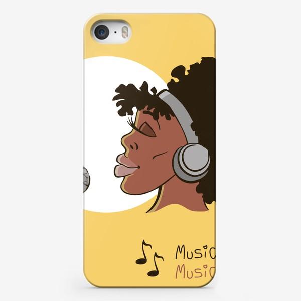 Чехол iPhone «афроамериканка девушка микрофон и наушники на фоне солнца: музыка»