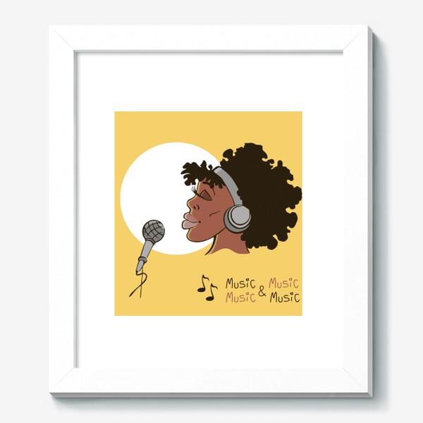 Картина «афроамериканка девушка микрофон и наушники на фоне солнца: музыка»