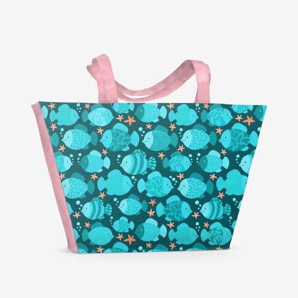 Пляжная сумка «Синие рыбки»