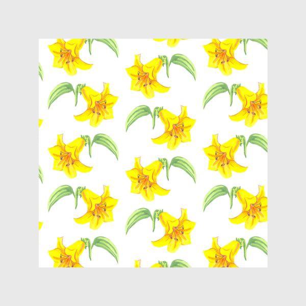 Шторы «паттерн желтые лилии акварель цветы»