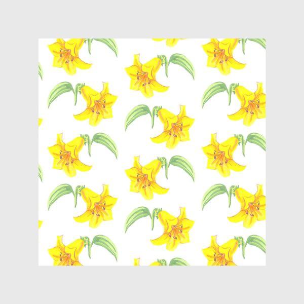Скатерть «паттерн желтые лилии акварель цветы»
